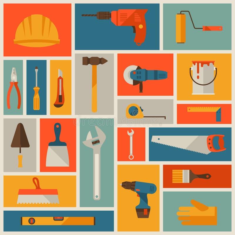 Σύνολο εικονιδίων εργαλείων εργασίας επισκευής και κατασκευής ελεύθερη απεικόνιση δικαιώματος