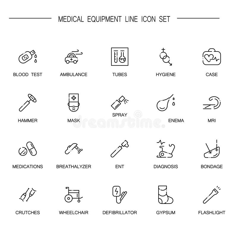 Σύνολο εικονιδίων ιατρικού εξοπλισμού απεικόνιση αποθεμάτων