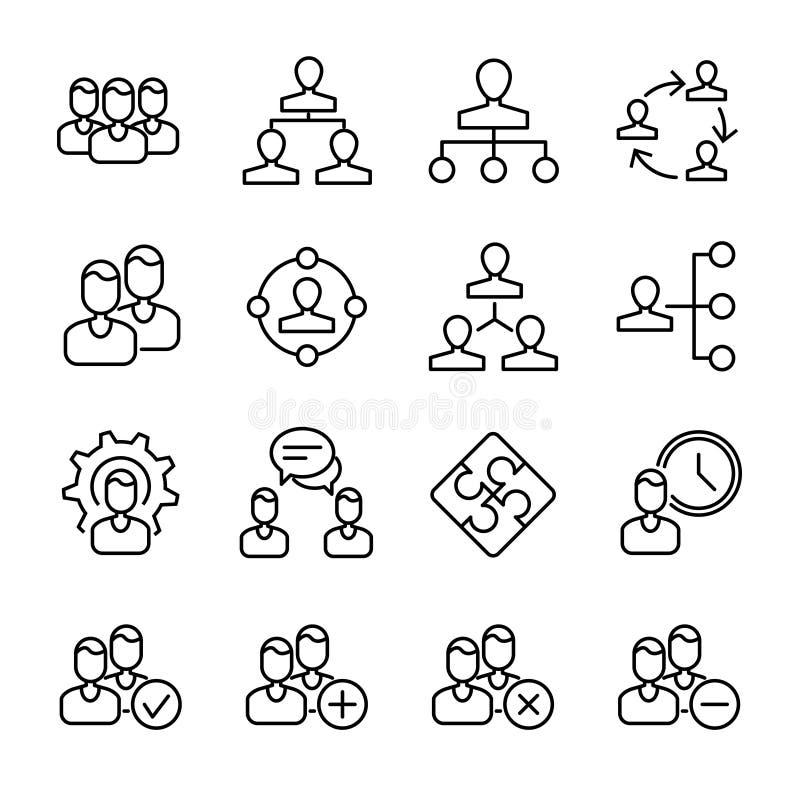 Σύνολο εικονιδίων διοίκησης επιχειρήσεων στο σύγχρονο λεπτό ύφος γραμμών ελεύθερη απεικόνιση δικαιώματος