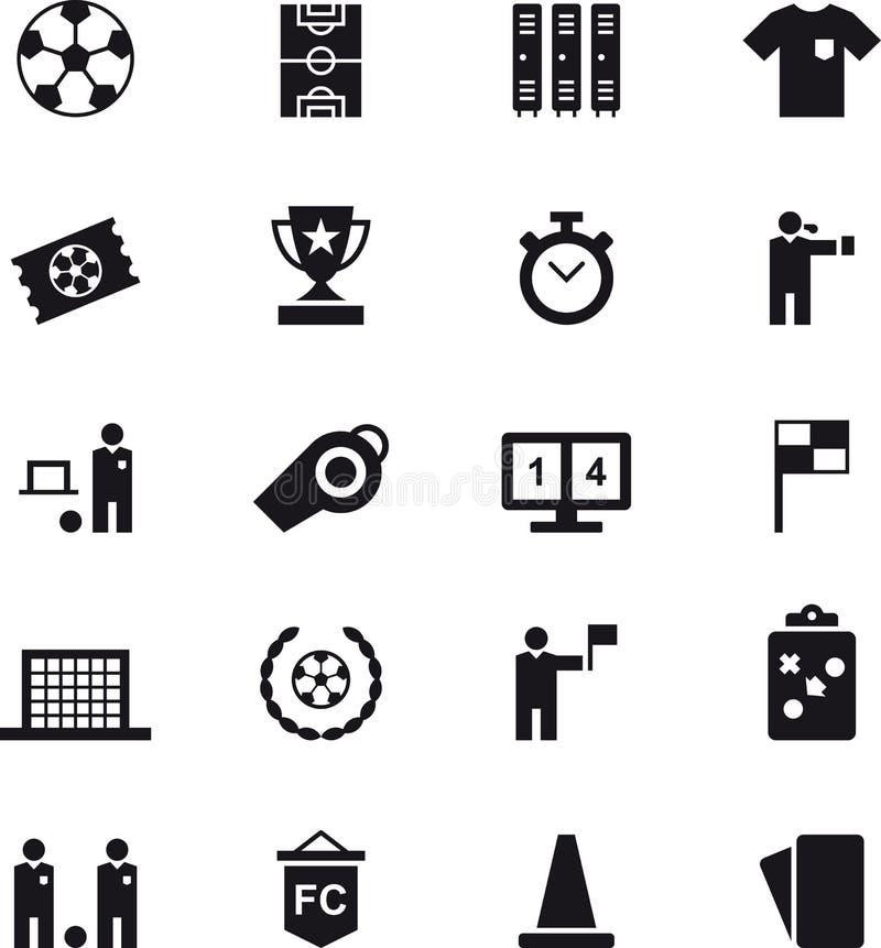 Σύνολο εικονιδίων Ιστού ποδοσφαίρου και ποδοσφαίρου ελεύθερη απεικόνιση δικαιώματος