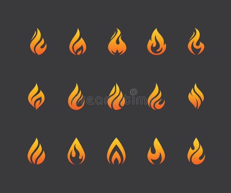 Σύνολο εικονιδίων και λογότυπου φλογών πυρκαγιάς που απομονώνονται στο μαύρο υπόβαθρο ελεύθερη απεικόνιση δικαιώματος