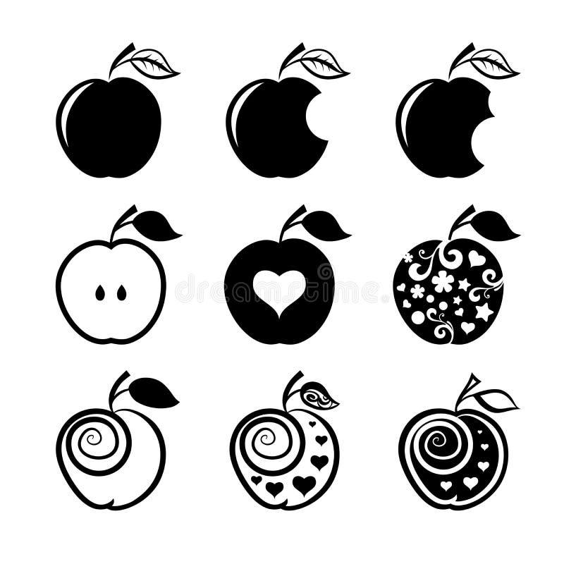 Σύνολο εικονιδίων και λογότυπων μήλων ελεύθερη απεικόνιση δικαιώματος