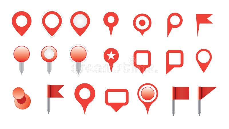 Σύνολο εικονιδίων καρφιτσών χαρτών διανυσματική απεικόνιση