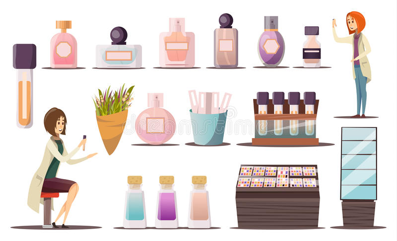 Σύνολο εικονιδίων καταστημάτων αρώματος απεικόνιση αποθεμάτων