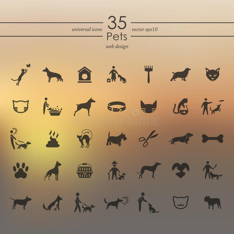 Σύνολο εικονιδίων κατοικίδιων ζώων διανυσματική απεικόνιση