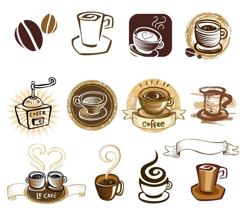 Σύνολο εικονιδίων καφέ ελεύθερη απεικόνιση δικαιώματος
