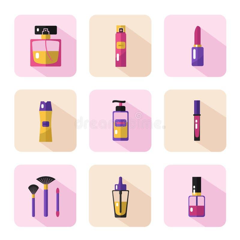 Σύνολο εικονιδίων καλλυντικών και ομορφιάς διανυσματική απεικόνιση