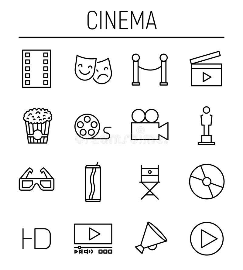Σύνολο εικονιδίων κινηματογράφων στο σύγχρονο λεπτό ύφος γραμμών διανυσματική απεικόνιση