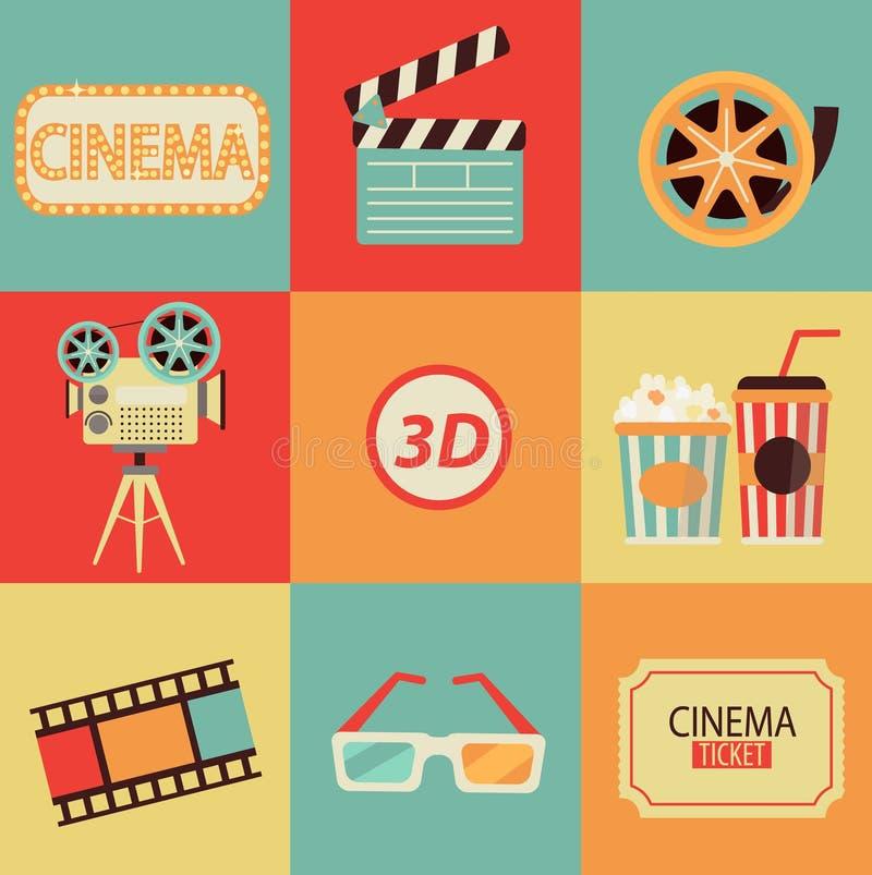 Σύνολο εικονιδίων κινηματογράφων ελεύθερη απεικόνιση δικαιώματος