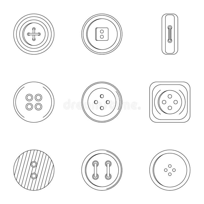 Σύνολο εικονιδίων κουμπιών ενδυμάτων ραψίματος, ύφος περιλήψεων διανυσματική απεικόνιση