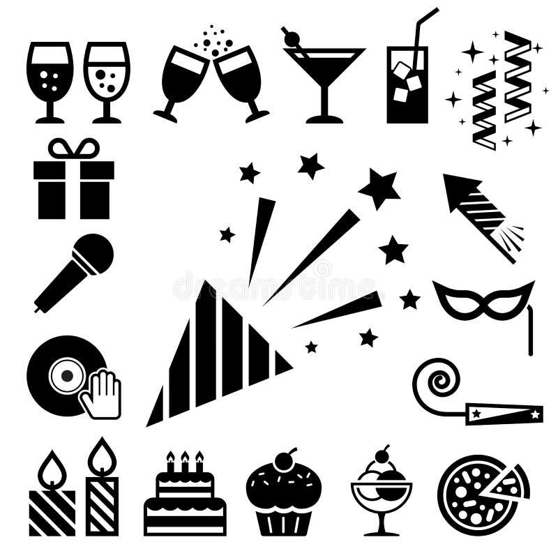 Σύνολο εικονιδίων κόμματος και εορτασμού. διανυσματική απεικόνιση