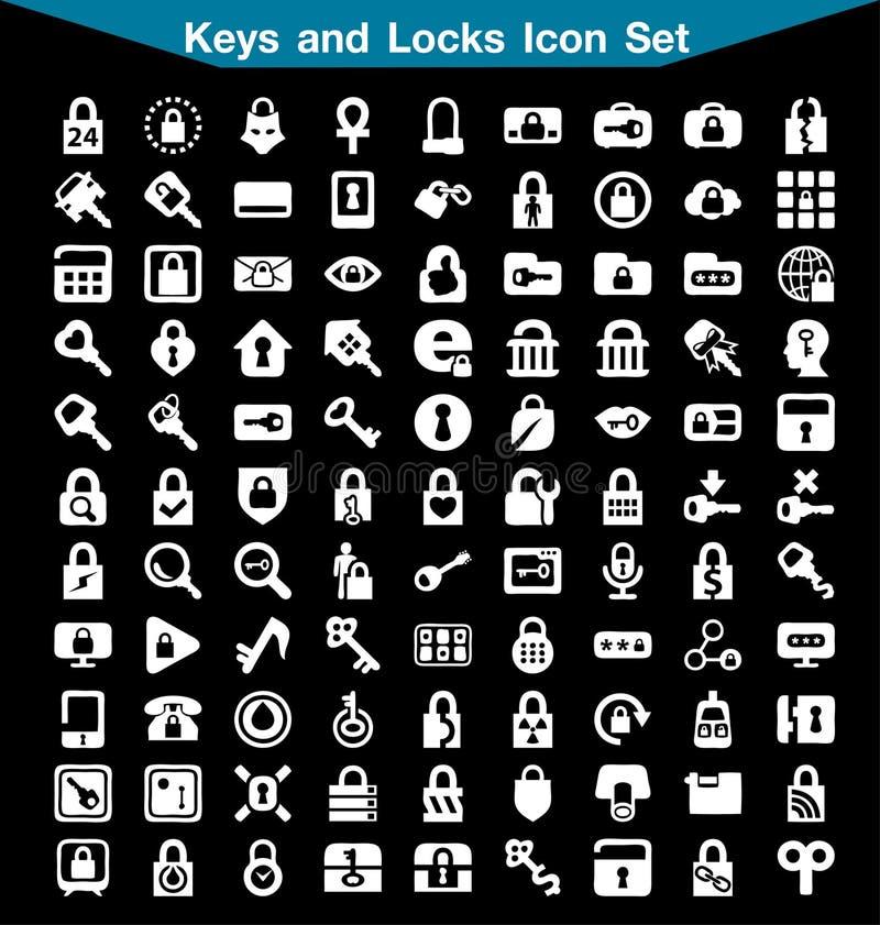 Σύνολο εικονιδίων κλειδιών και κλειδαριών στοκ εικόνες με δικαίωμα ελεύθερης χρήσης