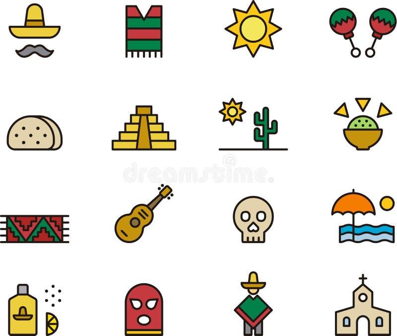Σύνολο εικονιδίων μεξικάνικων συμβόλων ελεύθερη απεικόνιση δικαιώματος