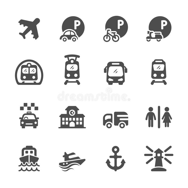 Σύνολο εικονιδίων μεταφορών και υποδομής, διανυσματικό eps10 απεικόνιση αποθεμάτων