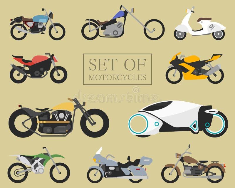 Σύνολο εικονιδίων μοτοσικλετών αναδρομικά και σύγχρονα επίπεδα ποδήλατα μοτοσικλέτες αγώνα και οδών Μηχανικό δίκυκλο στο λευκό διανυσματική απεικόνιση