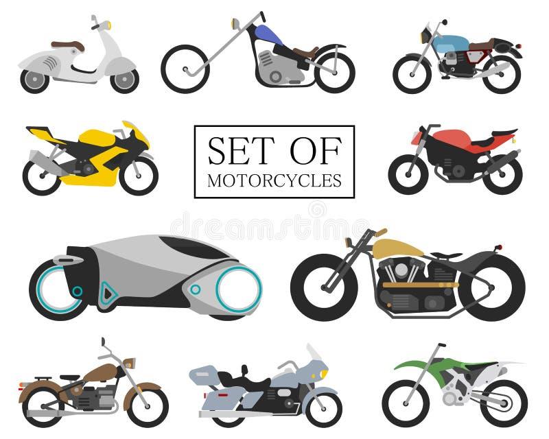 Σύνολο εικονιδίων μοτοσικλετών αναδρομικά και σύγχρονα επίπεδα ποδήλατα μοτοσικλέτες αγώνα και οδών Μηχανικό δίκυκλο στο λευκό ελεύθερη απεικόνιση δικαιώματος