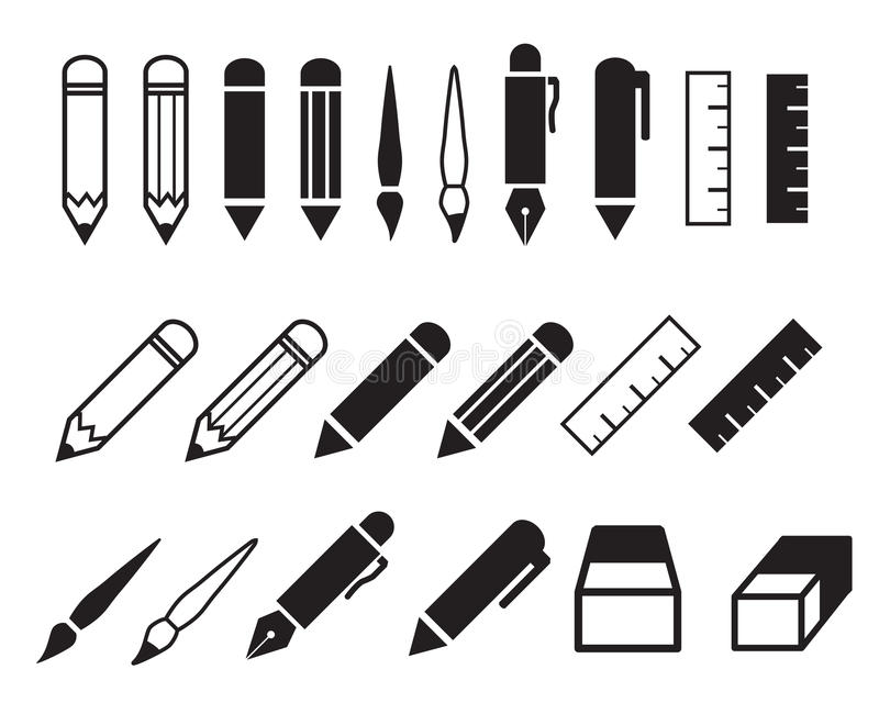 Σύνολο εικονιδίων μολυβιών και στυλών ελεύθερη απεικόνιση δικαιώματος