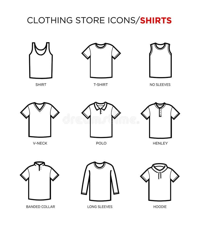 Σύνολο εικονιδίων μπλουζών ελεύθερη απεικόνιση δικαιώματος