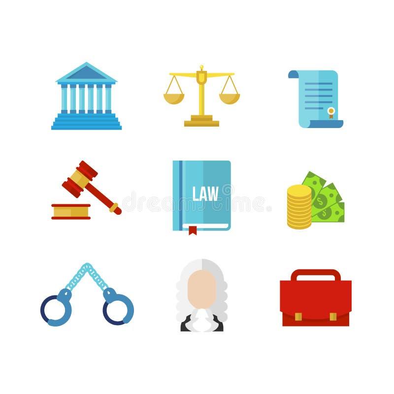 Σύνολο εικονιδίων νόμου δικαστηρίων απεικόνιση αποθεμάτων
