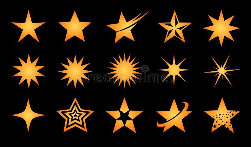 Σύνολο εικονιδίων λογότυπων αστεριών απεικόνιση αποθεμάτων