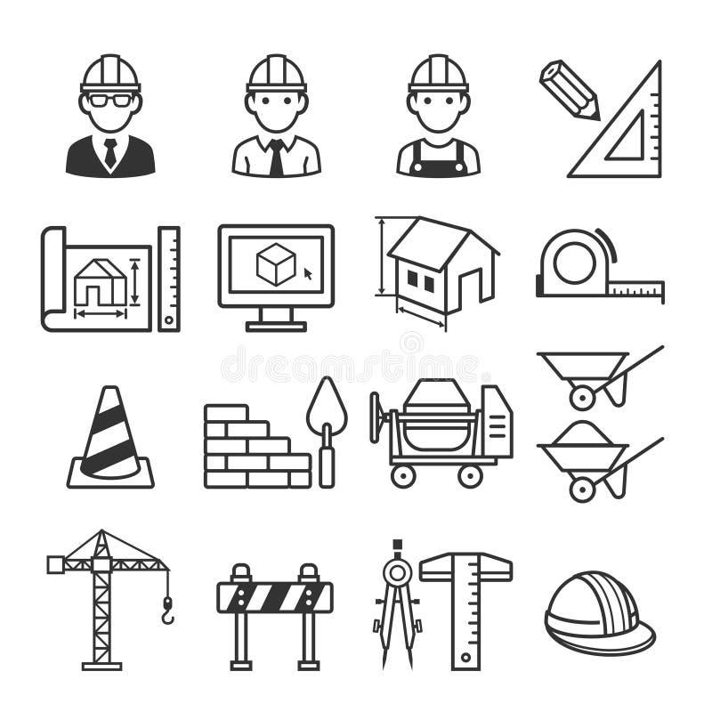 Σύνολο εικονιδίων οικοδόμησης κατασκευής αρχιτεκτονικής ελεύθερη απεικόνιση δικαιώματος