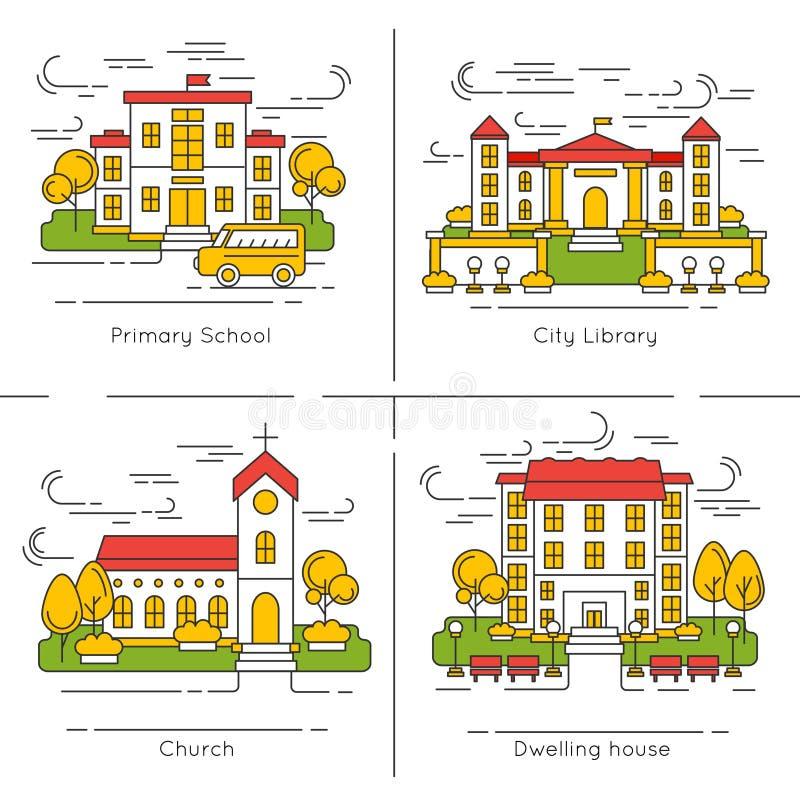 Σύνολο εικονιδίων οικοδόμησης ελεύθερη απεικόνιση δικαιώματος