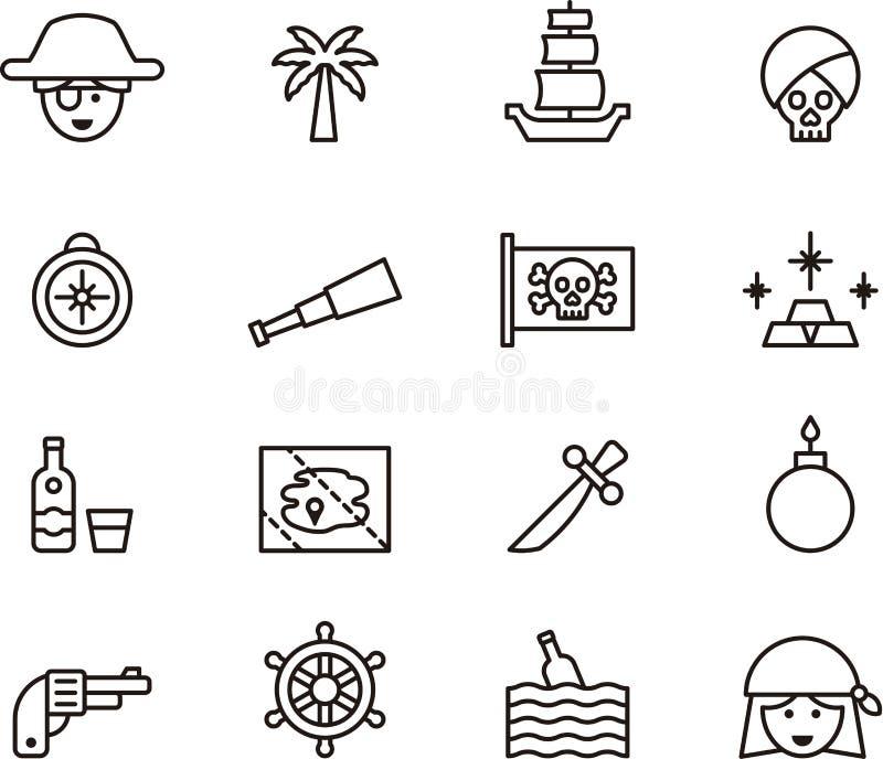 Σύνολο εικονιδίων πειρατών διανυσματική απεικόνιση