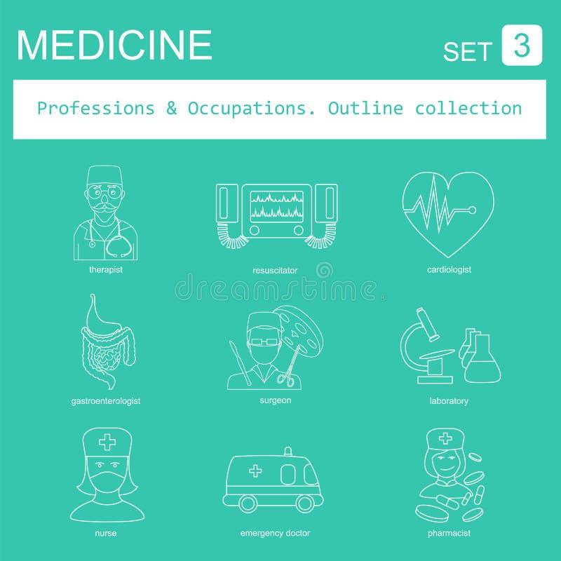 Σύνολο εικονιδίων περιλήψεων επαγγελμάτων και επαγγελμάτων ιατρικός Επίπεδη γραμμή απεικόνιση αποθεμάτων