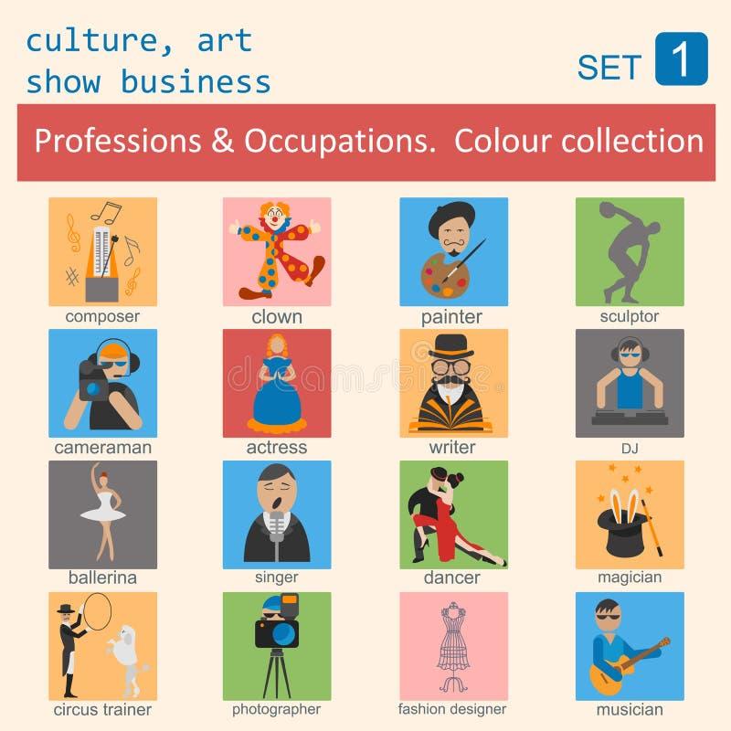 Σύνολο εικονιδίων περιλήψεων επαγγελμάτων και επαγγελμάτων Ο πολιτισμός, τέχνη, παρουσιάζει απεικόνιση αποθεμάτων