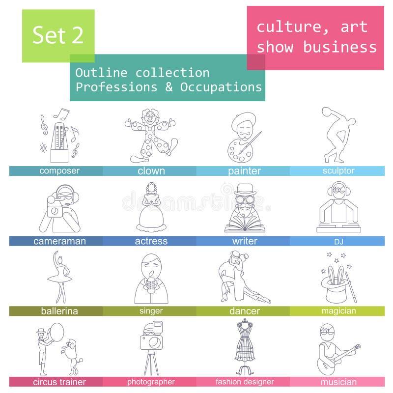 Σύνολο εικονιδίων περιλήψεων επαγγελμάτων και επαγγελμάτων Ο πολιτισμός, τέχνη, παρουσιάζει ελεύθερη απεικόνιση δικαιώματος