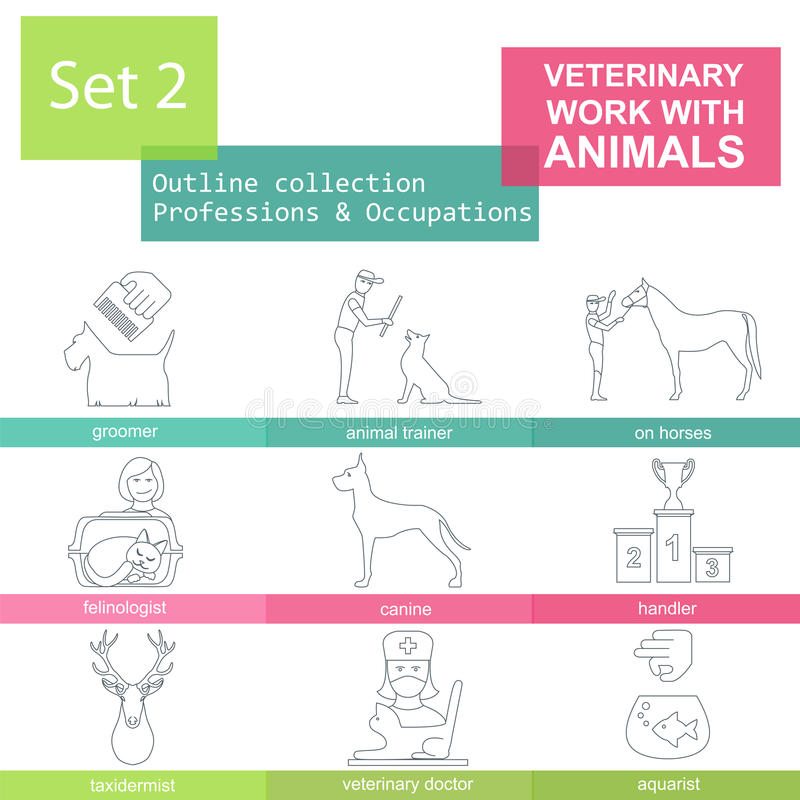Σύνολο εικονιδίων περιλήψεων επαγγελμάτων και επαγγελμάτων Κτηνιατρικός, εργασία W ελεύθερη απεικόνιση δικαιώματος