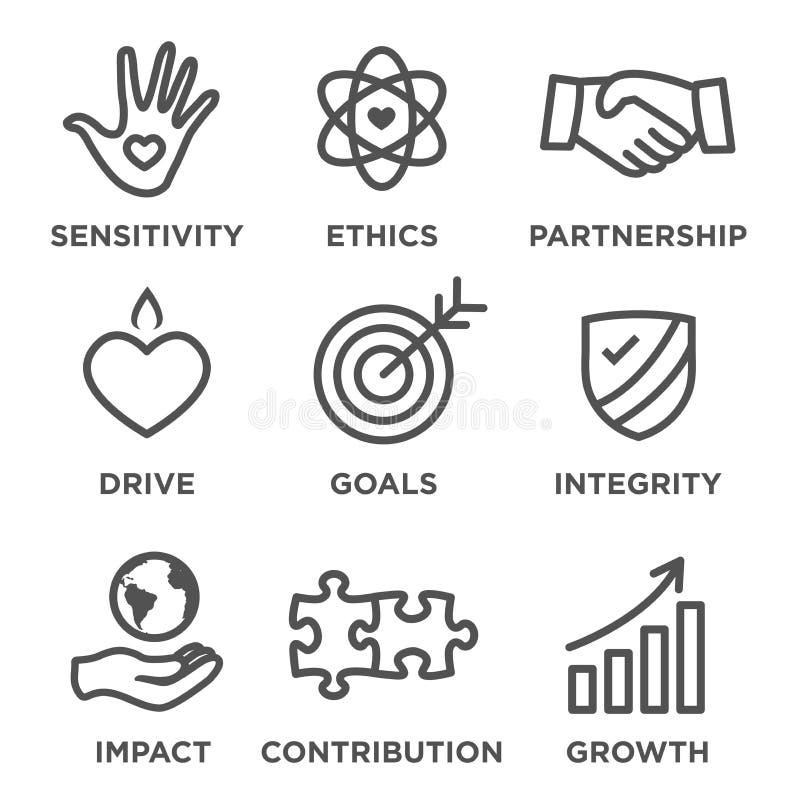 Σύνολο εικονιδίων περιλήψεων κοινωνικής ευθύνης απεικόνιση αποθεμάτων