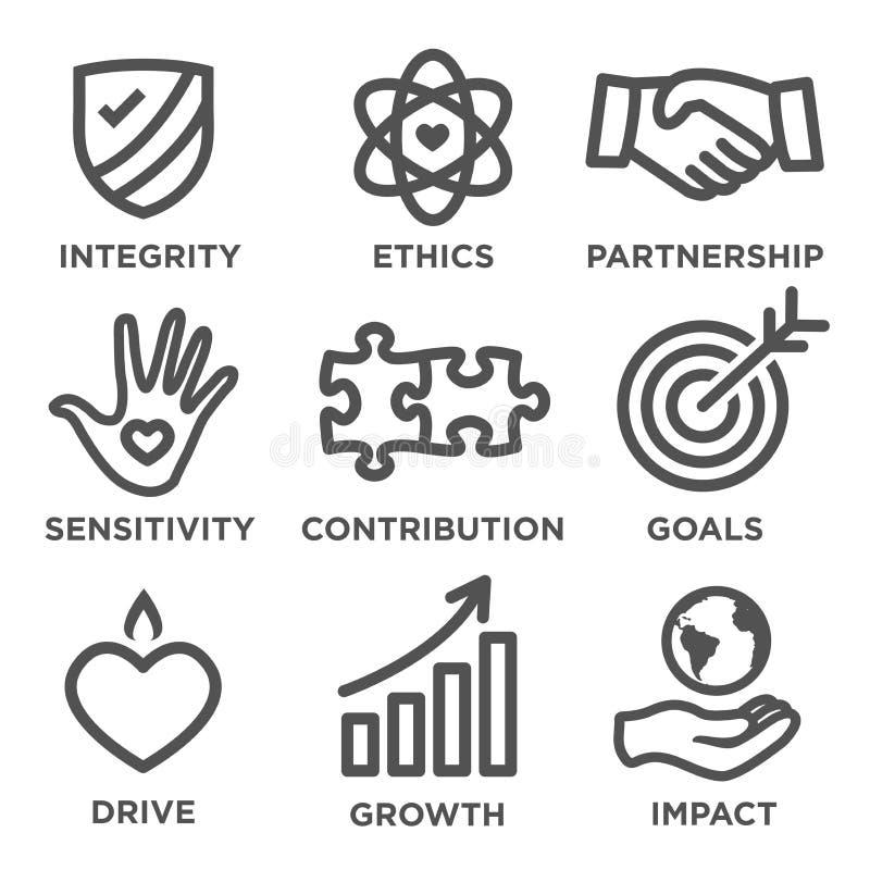 Σύνολο εικονιδίων περιλήψεων κοινωνικής ευθύνης διανυσματική απεικόνιση