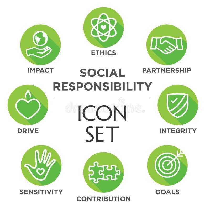 Σύνολο εικονιδίων περιλήψεων κοινωνικής ευθύνης ελεύθερη απεικόνιση δικαιώματος
