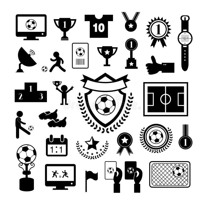 Σύνολο εικονιδίων ποδοσφαίρου απεικόνιση αποθεμάτων