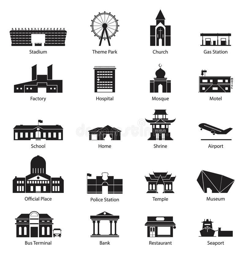 Σύνολο εικονιδίων πόλεων οικοδόμησης διανυσματική απεικόνιση