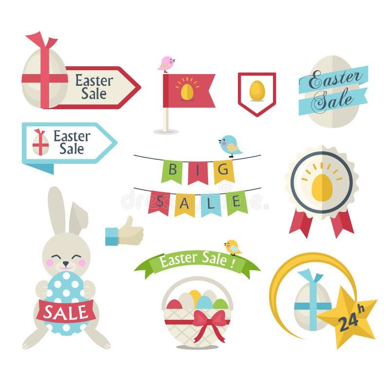 Σύνολο εικονιδίων πώλησης Πάσχας ελεύθερη απεικόνιση δικαιώματος
