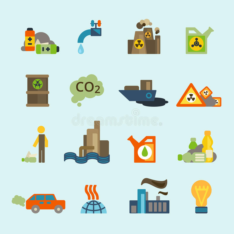 Σύνολο εικονιδίων ρύπανσης ελεύθερη απεικόνιση δικαιώματος