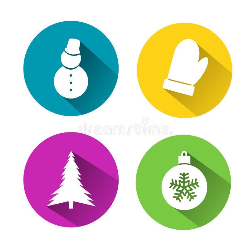 Σύνολο εικονιδίων σε επίπεδα Χριστούγεννα και νέο ένα έτος απεικόνιση αποθεμάτων