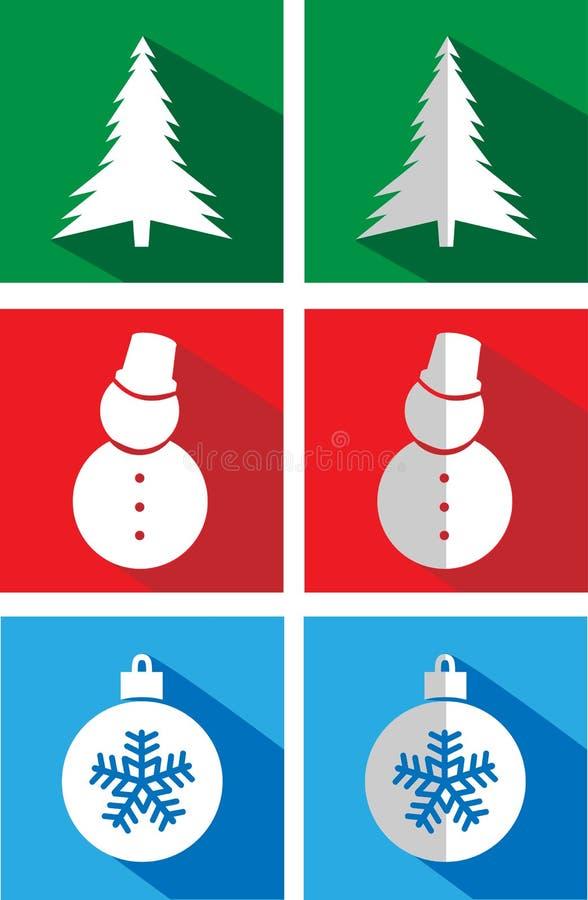 Σύνολο εικονιδίων σε επίπεδα Χριστούγεννα απεικόνιση αποθεμάτων
