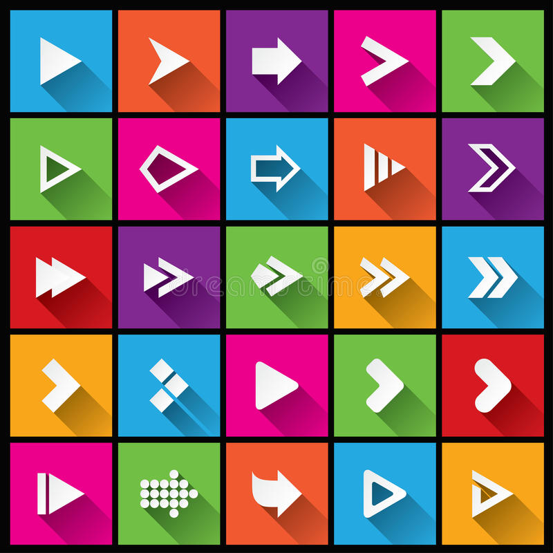 Σύνολο εικονιδίων σημαδιών βελών. Απλά τετραγωνικά κουμπιά μορφής διανυσματική απεικόνιση