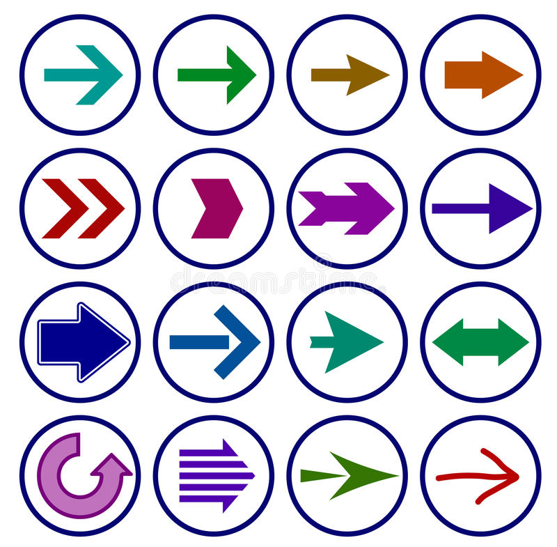 Σύνολο εικονιδίων σημαδιών βελών διάνυσμα ελεύθερη απεικόνιση δικαιώματος