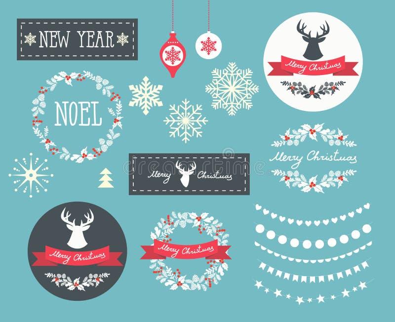 Σύνολο εικονιδίων, στοιχείων και απεικονίσεων χειμερινών Χριστουγέννων απεικόνιση αποθεμάτων