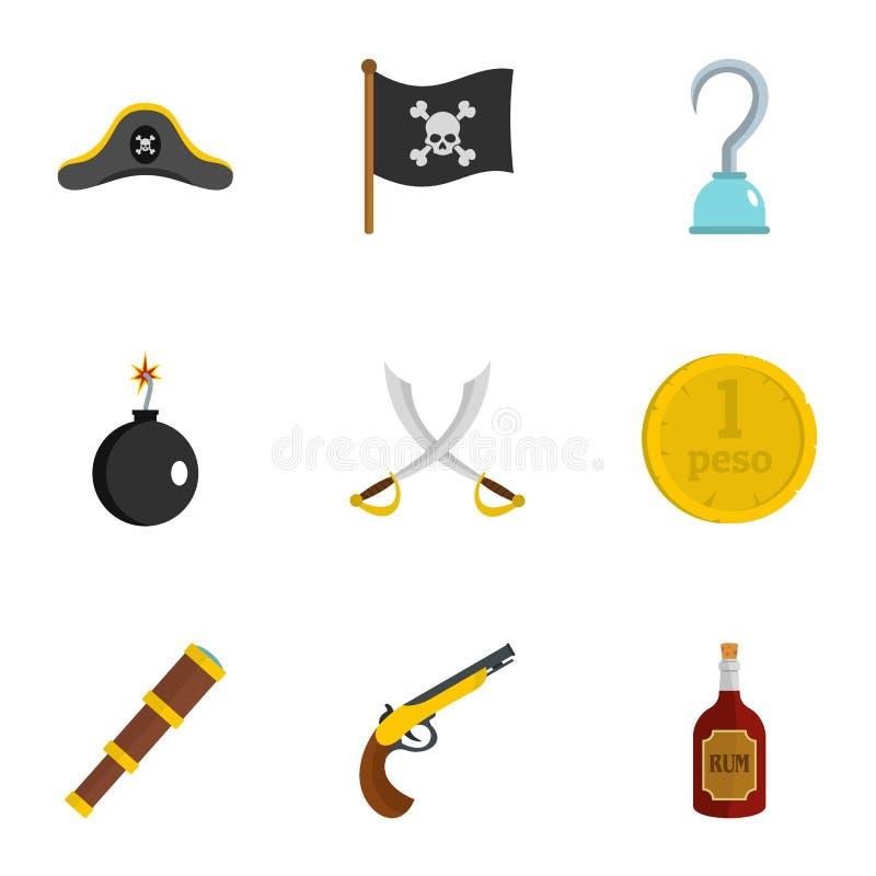 Σύνολο εικονιδίων στοιχείων πειρατών, επίπεδο ύφος ελεύθερη απεικόνιση δικαιώματος