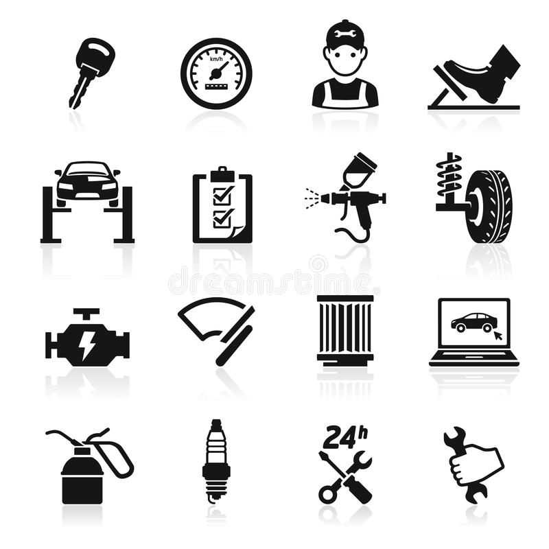 Σύνολο εικονιδίων συντήρησης υπηρεσιών αυτοκινήτων. ελεύθερη απεικόνιση δικαιώματος