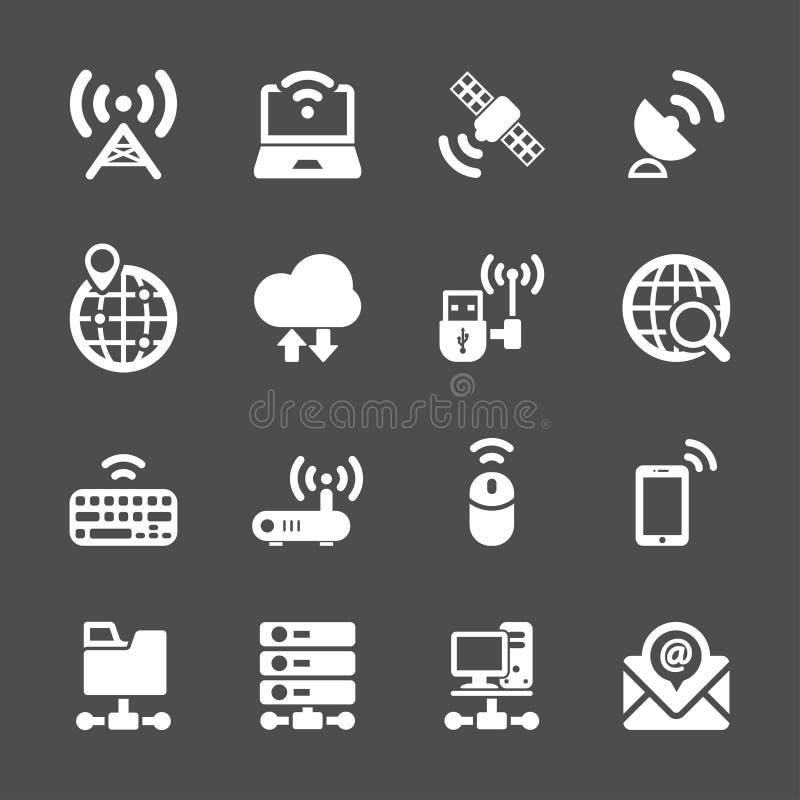 Σύνολο εικονιδίων συσκευών δικτύων και επικοινωνίας, διανυσματικό eps10 ελεύθερη απεικόνιση δικαιώματος