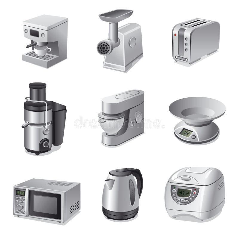 Σύνολο εικονιδίων συσκευών κουζινών ελεύθερη απεικόνιση δικαιώματος