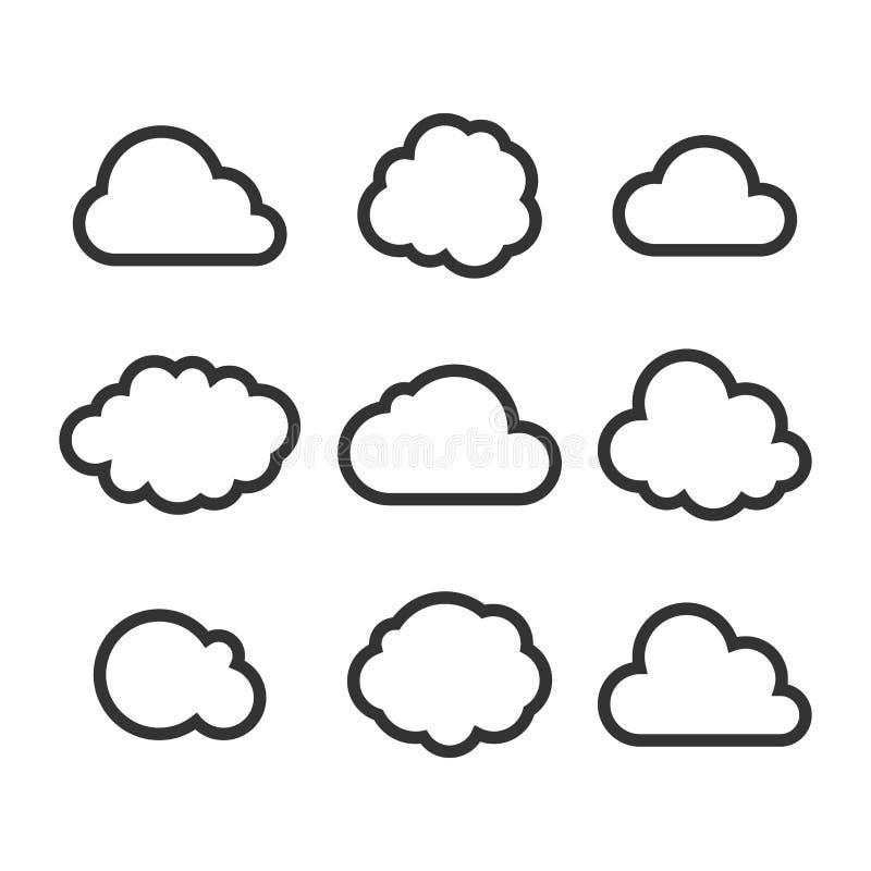 Σύνολο εικονιδίων σύννεφων ελεύθερη απεικόνιση δικαιώματος