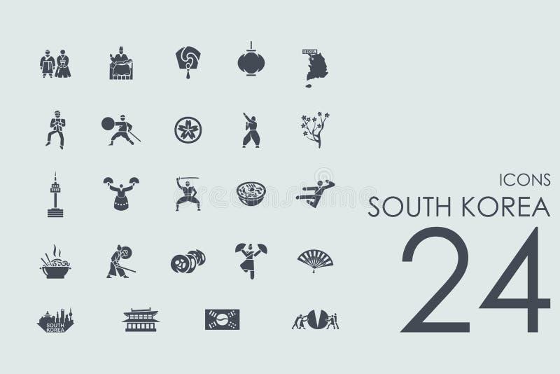 Σύνολο εικονιδίων της Νότιας Κορέας απεικόνιση αποθεμάτων