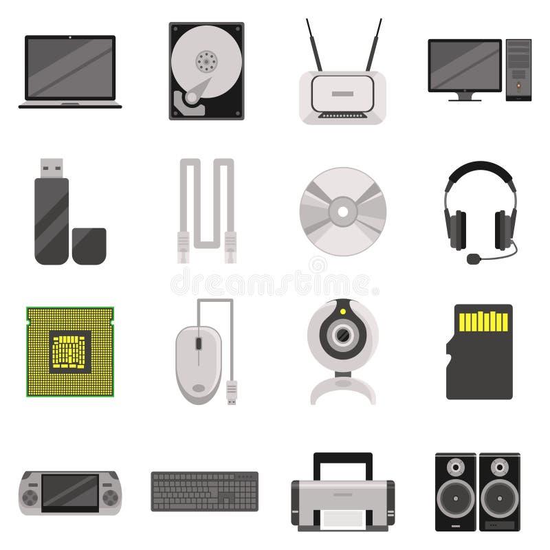 Σύνολο εικονιδίων τμημάτων και εξαρτημάτων υπολογιστών ελεύθερη απεικόνιση δικαιώματος